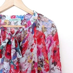 Pleione Tops - Pleione Sheer Colourful Flowers V Neck Blouse